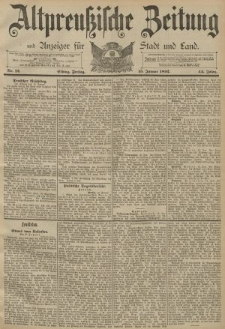 Altpreussische Zeitung, Nr. 12 Freitag 15 Januar 1892, 44. Jahrgang