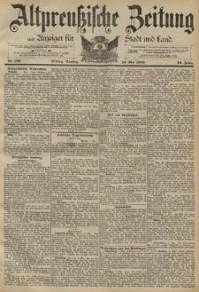 Altpreussische Zeitung, Nr. 109 Dienstag 10 Mai 1892, 44. Jahrgang
