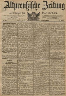 Altpreussische Zeitung, Nr. 184 Dienstag 9 August 1892, 44. Jahrgang
