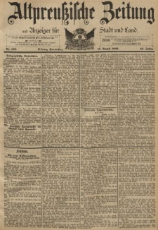 Altpreussische Zeitung, Nr. 192 Donnerstag 18 August 1892, 44. Jahrgang