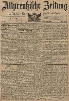 Altpreussische Zeitung, Nr. 198 Donnerstag 25 August 1892, 44. Jahrgang
