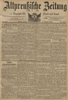 Altpreussische Zeitung, Nr. 265 Freitag 11 November 1892, 44. Jahrgang