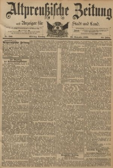 Altpreussische Zeitung, Nr. 280 Dienstag 29 November 1892, 44. Jahrgang