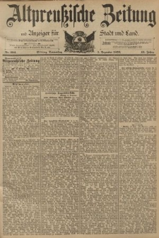 Altpreussische Zeitung, Nr. 282 Donnerstag 1 Dezember 1892, 44. Jahrgang