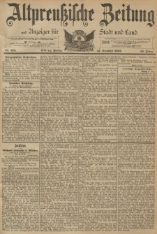 Altpreussische Zeitung, Nr. 295 Freitag 16 Dezember 1892, 44. Jahrgang