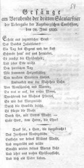 Gesänge am Vorabende der dritten Säcularfeier der Uebergabe der augsburgischen Confesssion, den 24. Juni 1830