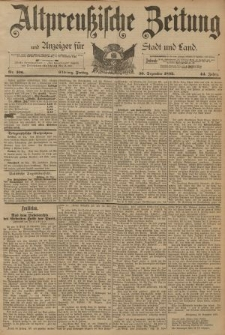 Altpreussische Zeitung, Nr. 306 Freitag 30 Dezember 1892, 44. Jahrgang