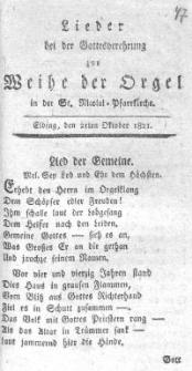 Lieder bei der Gottesverehrung zur Weihe der Orgel In der St. Nicolai – Pfarrkirche