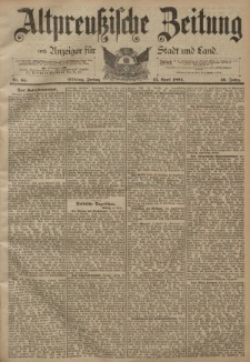 Altpreussische Zeitung, Nr. 85 Freitag 13 April 1894, 46. Jahrgang