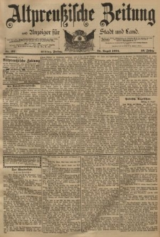 Altpreussische Zeitung, Nr. 197 Freitag 24 August 1894, 46. Jahrgang