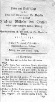 Lieder und Musik-Text bei der jener des Geburtstages Sr. Majestät des Königs Friedrich Wilhelm des Dritten unsers hochgeehrten Landes – Vaters zur Gottesverehrung in der Kirche zu St. Marien