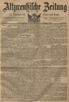 Altpreussische Zeitung, Nr. 204 Freitag 1 September 1894, 46. Jahrgang
