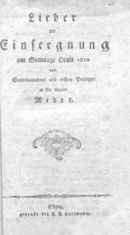 Lieder zur Einsegnung am Sonntage Oculi 1810