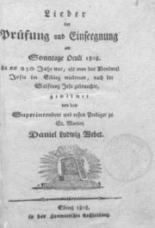 Lieder der Prüfung und Einsegnung am Sonntage Oculi 1808
