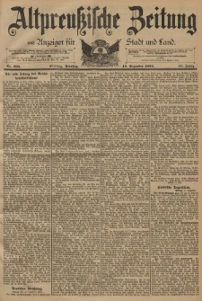 Altpreussische Zeitung, Nr. 295 Dienstag 18 Dezember 1894, 46. Jahrgang