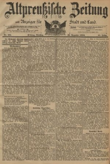 Altpreussische Zeitung, Nr. 301 Dienstag 25 Dezember 1894, 46. Jahrgang