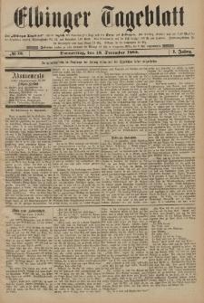 Elbinger Tageblatt, Nr. 15 Donnerstag 18 Dezember 1884 1. Jahrgang