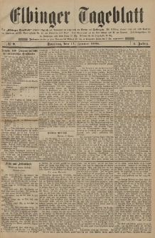 Elbinger Tageblatt, Nr. 9 Sonntag 11 Januar 1885 2. Jahrgang