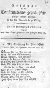 Gesänge bei der Confirmations -Feierlichkeit einiger jungen Christen in der St. Marienkirche zu Elbing. Müßell