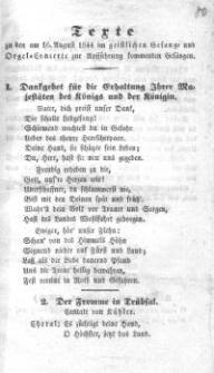 Texte zu den am 16. August 1844 im Geistlichen Gesangs- und Orgel-Conzerte zur Aufführung kommenden Gesängen