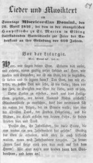 Lieder und Musiktext am Sonntage Misericordias Domini, den 26. April 1846, bei dem in der evangelischen Hauptkirche zu St. Marien in Elbing stattfindenden Gottesdienste zur Feier des Andenkes an ihre Gründung vor 600 Jahren.