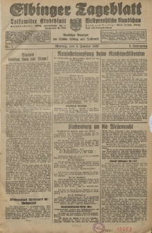 Elbinger Tageblatt, Nr. 1 Montag 2 Januar 1928, 5. Jahrgang