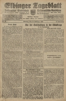 Elbinger Tageblatt, Nr. 37 Montag 13 Februar 1928, 5. Jahrgang