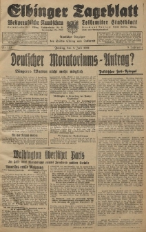 Elbinger Tageblatt, Nr. 153 Freitag 3 Juli 1931, 8. Jahrgang