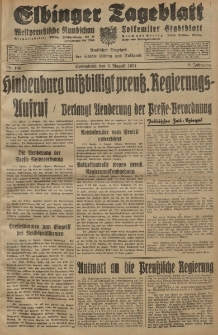 Elbinger Tageblatt, Nr. 184 Sonnabend 8 August 1931, 8. Jahrgang