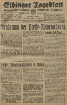 Elbinger Tageblatt, Nr. 186 Dienstag 11 August 1931, 8. Jahrgang