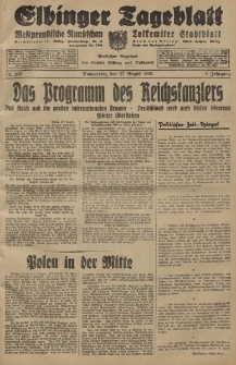 Elbinger Tageblatt, Nr. 200 Donnerstag 27 August 1931, 8. Jahrgang