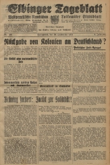 Elbinger Tageblatt, Nr. 226 Sonnabend 26 September 1931, 8. Jahrgang