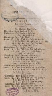 Kirchenzettel der Stadt Elbing, Nr. 1, 1 Januar 1799