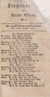 Kirchenzettel der Stadt Elbing, Nr. 4, 20 Januar 1799