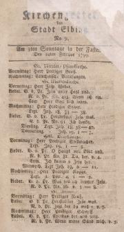 Kirchenzettel der Stadt Elbing, Nr. 9, 24 Februar 1799
