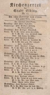 Kirchenzettel der Stadt Elbing, Nr. 15, 31 März 1799