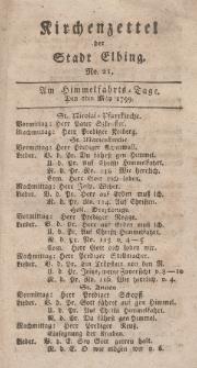 Kirchenzettel der Stadt Elbing, Nr. 21, 2 Mai 1799