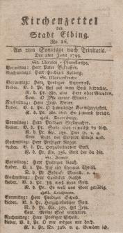 Kirchenzettel der Stadt Elbing, Nr. 26, 2 Juni 1799