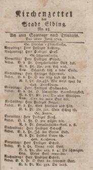Kirchenzettel der Stadt Elbing, Nr. 28, 16 Juni 1799