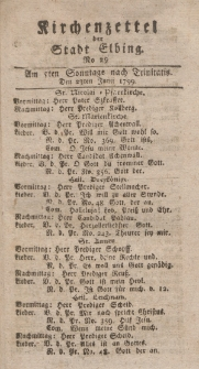 Kirchenzettel der Stadt Elbing, Nr. 29, 23 Juni 1799
