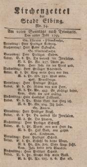 Kirchenzettel der Stadt Elbing, Nr. 34, 28 Juli 1799