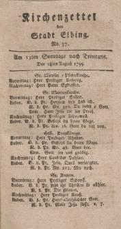 Kirchenzettel der Stadt Elbing, Nr. 37, 18 August 1799