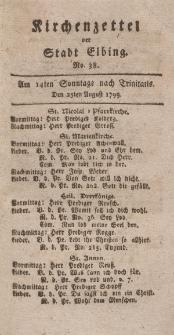 Kirchenzettel der Stadt Elbing, Nr. 38, 25 August 1799