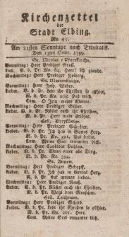 Kirchenzettel der Stadt Elbing, Nr. 45, 13 Oktober 1799