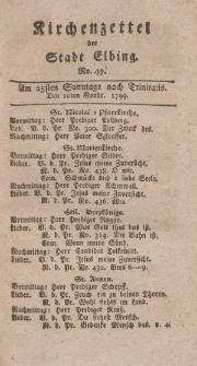 Kirchenzettel der Stadt Elbing, Nr. 49, 10 November 1799