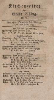 Kirchenzettel der Stadt Elbing, Nr. 52, 1 Dezember 1799