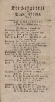 Kirchenzettel der Stadt Elbing, Nr. 1, 1 Januar 1800