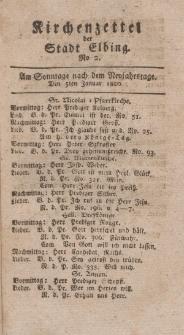 Kirchenzettel der Stadt Elbing, Nr. 2, 5 Januar 1800