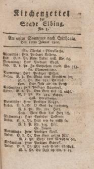 Kirchenzettel der Stadt Elbing, Nr. 3, 12 Januar 1800