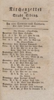 Kirchenzettel der Stadt Elbing, Nr. 4, 19 Januar 1800